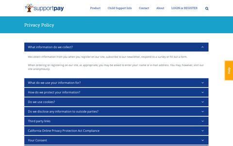 Screenshot of Privacy Page supportpay.com - SupportPay | Ittavi - Privacy Policy - captured Sept. 11, 2014