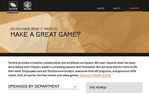 Screenshot of Jobs Page turbine.com - Careers | Turbine, Inc. - captured Sept. 17, 2014