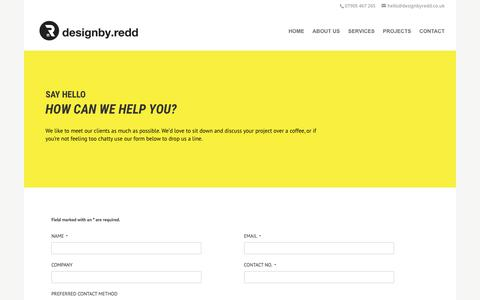 Screenshot of Contact Page designbyredd.co.uk - Contact Us | Lichfield | designby.redd - captured Aug. 9, 2018