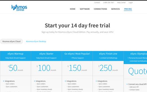 Screenshot of Trial Page Pricing Page kosmoscentral.com - Kosmos eSync Cloud Pricing | 14 day free trial | Kosmos Central - captured Sept. 20, 2018