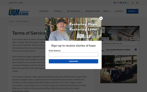 Screenshot of Terms Page ugmsalem.org - Terms of Service - Union Gospel Mission - captured Oct. 18, 2018