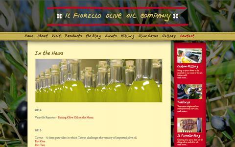 Screenshot of Press Page ilfiorello.com - In the News | Il Fiorello Olive Oil Company - captured Oct. 6, 2014