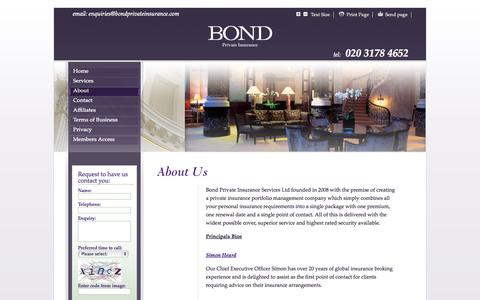 Screenshot of About Page bondprivateinsurance.com - Bond Private Insurance - About - captured Oct. 5, 2014