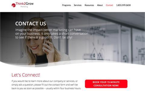 Screenshot of Contact Page think2grow.com - Marketing Services | Think2Grow | Toronto • Mississauga • GTA - captured Aug. 18, 2019