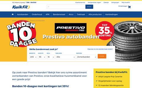 Screenshot of kwik-fit.nl - Prestivo banden kopen? Bestel ze nu online bij KwikFit! - captured April 15, 2017