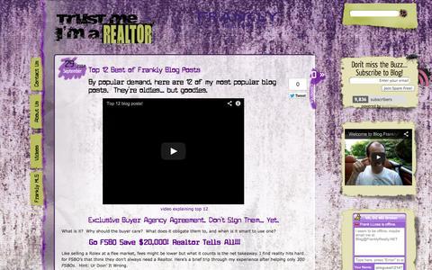 Screenshot of Blog franklyrealty.com - FranklyRealty.com Trust Me I'm A REALTOR | - captured Oct. 6, 2014