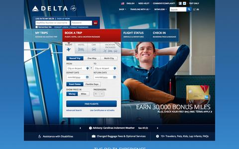 Screenshot of Home Page delta.com - Airline Tickets and Flights to Worldwide Destinations - Delta Air Lines - captured Oct. 7, 2015