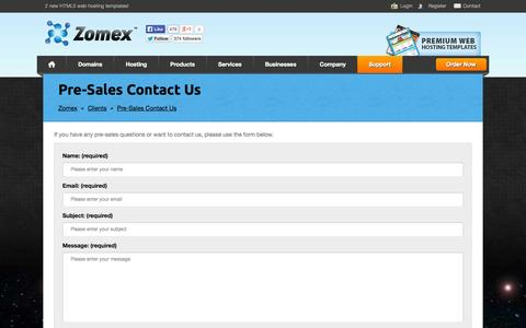 Screenshot of Support Page zomex.com - Zomex - Pre-Sales Contact Us - captured Oct. 30, 2014