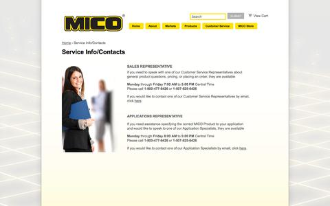 Screenshot of Support Page mico.com - Service Info/Contacts | MICO, Inc. - captured Oct. 3, 2014