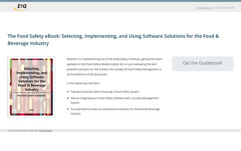 The Food Safety eBook: Selecting, Implementing, and Using Software Solutions for the Food & Beverage Industry