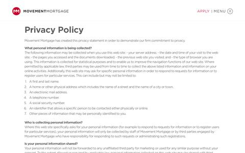Screenshot of Privacy Page movement.com - Privacy Policy - Movement Mortgage - captured Feb. 2, 2018