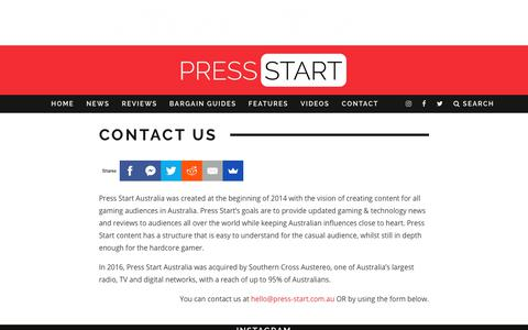 Screenshot of Contact Page press-start.com.au - Contact Us | Press Start Australia - captured Aug. 25, 2017