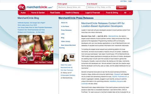 Screenshot of Developers Page merchantcircle.com - MerchantCircle - Developers - captured Oct. 10, 2014