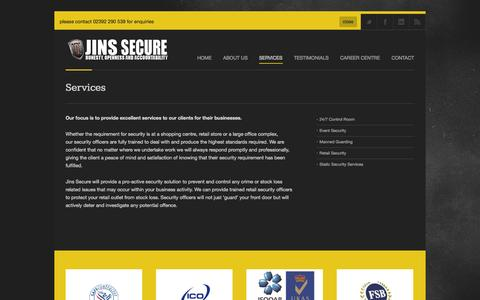 Screenshot of Services Page jinsecure.com - Jins Secure |   Services - captured Oct. 3, 2014