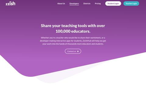 Screenshot of Developers Page zzish.com - Zzish, We find the best learning apps, and make them useful for real classrooms - captured July 5, 2018
