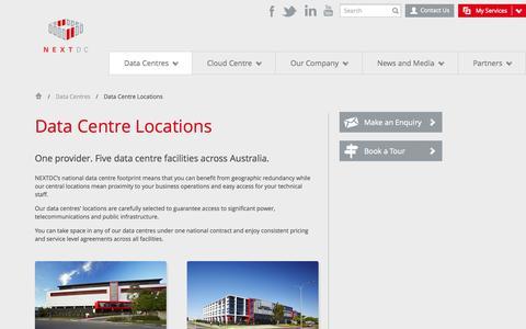 Screenshot of Locations Page nextdc.com - NEXTDC - Next generation data centres - captured Oct. 9, 2014