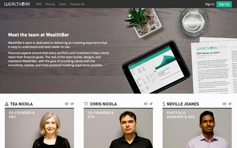 Screenshot of Team Page wealthbar.com - WealthBar - Team - captured Nov. 5, 2014