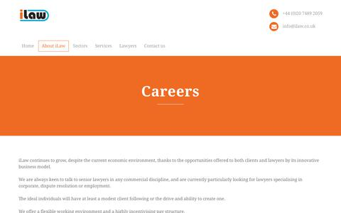 Screenshot of Jobs Page ilaw.co.uk - Careers – iLaw - captured June 8, 2017