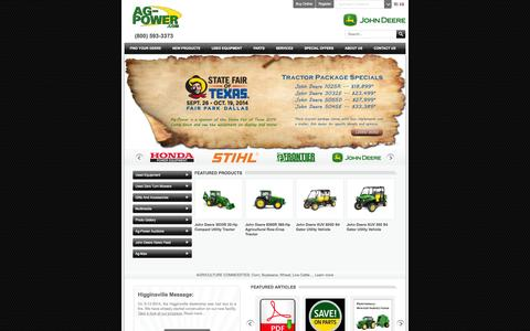 Screenshot of Home Page ag-power.com - Welcome to Ag-Power | Premier John Deere and STIHL Dealership - AG-POWER - captured Oct. 4, 2014