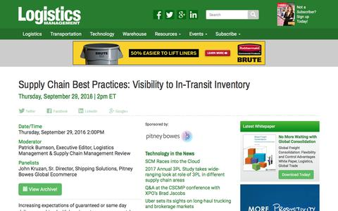 Screenshot of Signup Page logisticsmgmt.com - Supply Chain Best Practices: Visibility to In-Transit Inventory - Logistics Management - captured Oct. 16, 2016