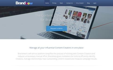 Screenshot of Home Page brandnew.io - Brandnew: Content Creator Platform - captured Sept. 19, 2016