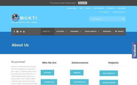 Screenshot of About Page muktiweb.org - About MUKTI, NGO of India | Mukti - captured Oct. 18, 2018