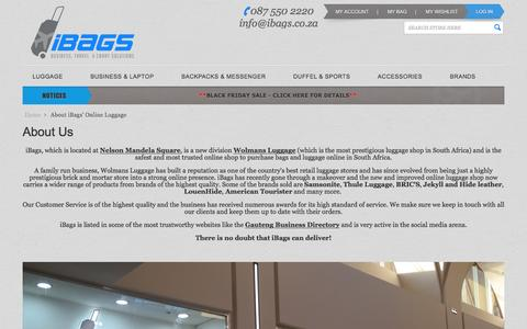 Screenshot of About Page ibags.co.za - About iBags' Online Luggage    South Africa - captured Nov. 26, 2016