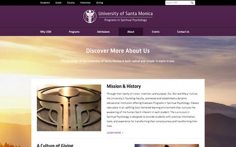 Screenshot of About Page universityofsantamonica.edu - About - University Of Santa Monica - captured Oct. 26, 2014