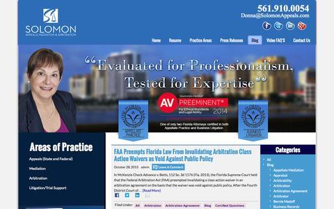Screenshot of Blog solomonappeals.com - Arbitration and Mediation of Business Disputes | Solomon Appeals - captured Oct. 5, 2014