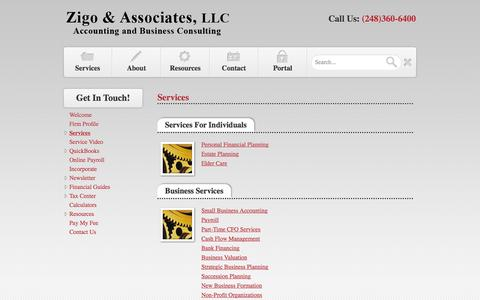 Screenshot of Services Page dzaccounting.com - Commerce, MI CPA & Accounting Firm / Services / Zigo & Associates, LLC - captured Oct. 7, 2014