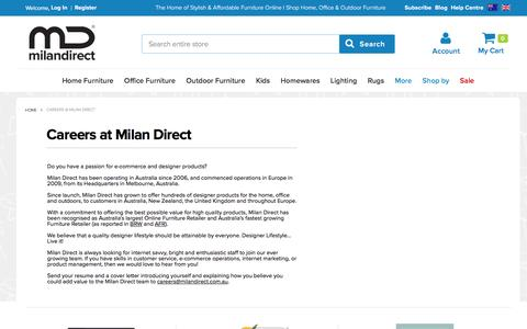 Screenshot of Jobs Page milandirect.com.au - Careers @ Milan Direct - captured Aug. 22, 2016
