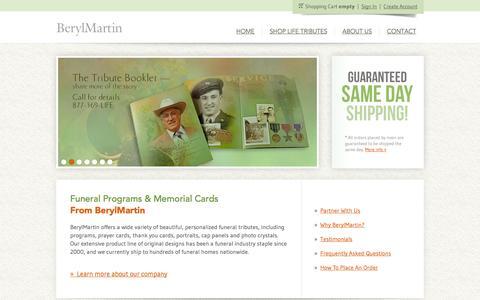 Screenshot of Home Page berylmartin.com - Funeral Programs, Memorial Cards, Thank You Cards from BerylMartin - captured Sept. 30, 2014