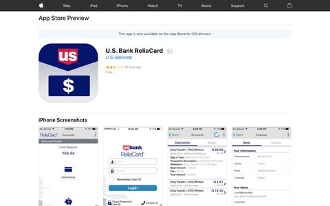 U.S. Bank ReliaCard on the AppStore