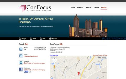 Screenshot of Contact Page confocus.com - Contact | ConFocus, a Flextronics Company - captured Oct. 3, 2014