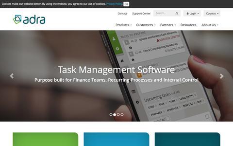 Screenshot of Home Page adra.com - Adra | Financial Close & Control Software - captured June 17, 2015