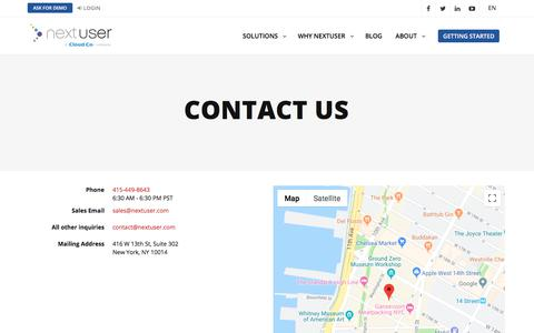 Screenshot of Contact Page nextuser.com - Contact Us - Omnichannel Marketing Platform & Artificial         Intelligence driving 1:1 personalization - captured Aug. 21, 2019