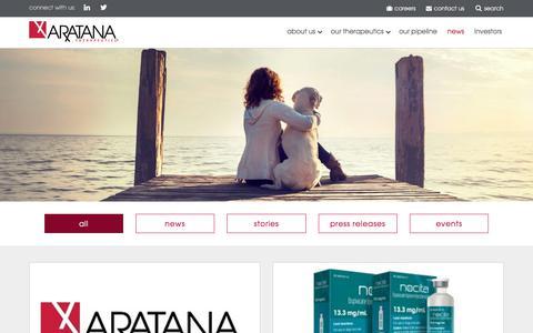 Screenshot of Press Page aratana.com - Aratana | Read News & Press Releases - captured Sept. 24, 2018