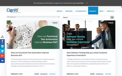 Screenshot of Blog cigniti.com - Software Testing Blog by Independent Software Testing Company - Cigniti Technologies - captured Feb. 9, 2019