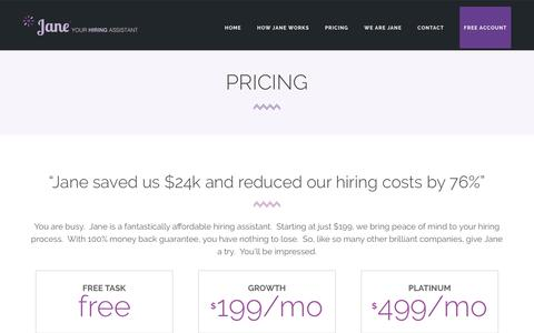 Screenshot of Pricing Page janehires.com - Pricing | JaneHires - Hiring Assistant for Human Resource Managers - HR Managers - captured May 21, 2016
