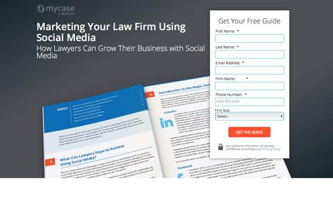 Screenshot of Landing Page mycase.com - Marketing Your Law Firm Using Social Media :: MyCase Legal Resources - captured March 13, 2018