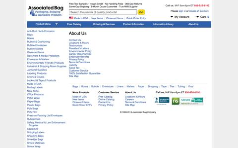 Screenshot of About Page associatedbag.com - Packaging & Shipping Products | Associated Bag Company - captured Sept. 24, 2014