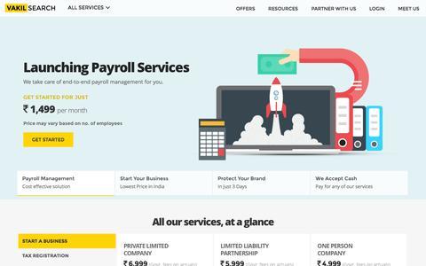 Screenshot of Home Page vakilsearch.com - Online Legal Services for Startups & SMEs - captured Nov. 28, 2016