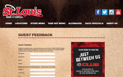 Screenshot of Contact Page stlouiswings.com - Guest Feedback   St. Louis Wings Bar and Grill - captured Feb. 16, 2016