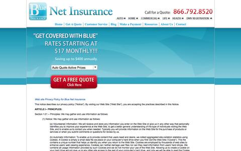 Screenshot of Privacy Page bnsurance.com - Privacy Policy - Blue Net Insurance - captured Oct. 5, 2014
