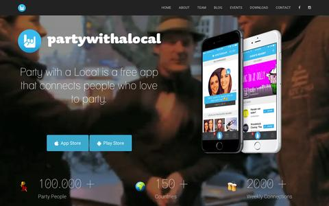 Screenshot of Home Page partywithalocal.com - Party with a Local - captured Oct. 5, 2016