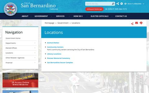Screenshot of Locations Page sbcity.org - City of San Bernardino - Locations - captured Nov. 6, 2016