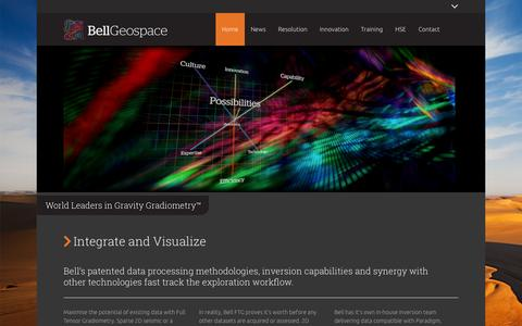 Screenshot of Home Page bellgeo.com - Bell Geospace - World Leaders in Gravity Gradiometry - captured Oct. 5, 2014