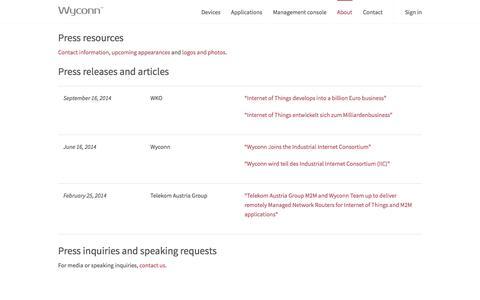 Screenshot of Press Page wyconn.com - Press - Wyconn - captured Oct. 9, 2014
