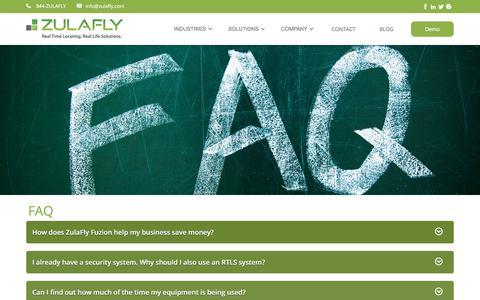 Screenshot of FAQ Page zulafly.com - FAQ | ZulaFly RTLS - captured June 18, 2017