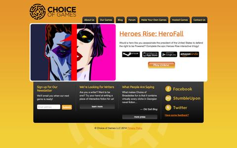 Screenshot of Home Page choiceofgames.com - Choice of Games LLC - captured Sept. 22, 2014